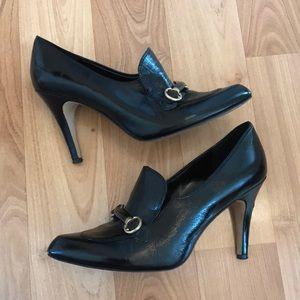 Nicole miller Corr black patent gold loafer heels